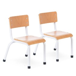 SMALL METAL WOOD CHAIR NATURAL WHITE 2PCS
